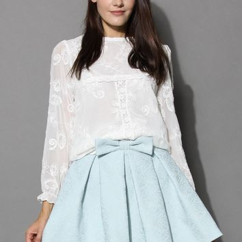 Ethereal Flower Embroidered White Blouse