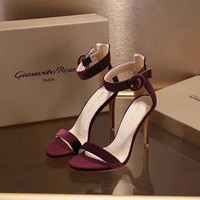Gianvito Rossi Genuine Leather Sandals Shoes Stiletto 100mm Casual Burgundy Women Shoe