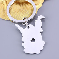 I heart West Virginia keychain - West Virginia keyring - State Charm - Map keychain - Map Jewelry