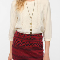 Ecote Embroidered Bib Blouse