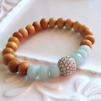 Sandalwood and Amazonite Beaded Stretch Stacking Bracelet, Mother of Pearl Pave Bead, Faceted Amazonite Beads, Boho Chic Stacking Bracelet