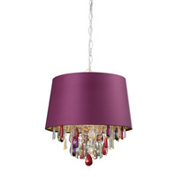 Purple Drum Pendant Light With Crystal Drops Purple