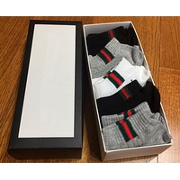 GUCCI Fashion Casual Striped Embroidered Socks A set for 4 pairs - Boxed