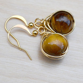 Tiger Eye Earrings, Herringbone Link, Wire Wrapped Stone, Tiger Eye Jewelry, Elegant Earrings, Drop Earrings Gold Earrings