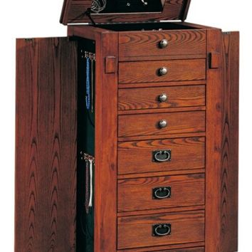 Oak finish wood mission style jewelry armoire chest with flip up mirror