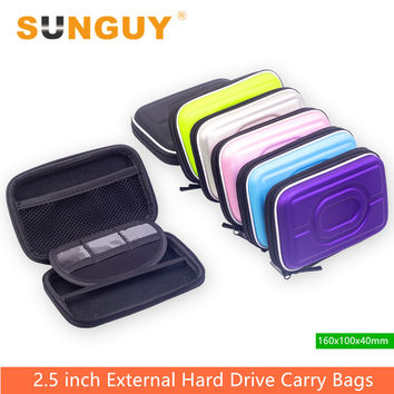 SUNGUY PU Leather Hard Carrying Case Pouch for External 2.5 Inch USB 3.0 Hard Drive Enclosure and External SATA HDD SSD Cases