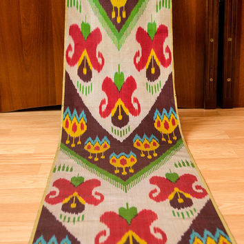 ikat, table runner, table cloth, fabric by the yard, ikat fabric, red, green, design, interior, home decor, make curtians, dress, handwoven