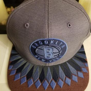 DCCK7BE Mitchell & Ness Brooklyn NY Nets Snapback Hat (blue) Men's NBA Cap