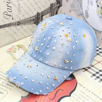 DCCKHY9 Women's fashion five point stars rhinestone baseball cap Lady's casual rivet denim hat Female Free shipping