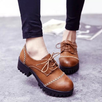 Summer England Style Vintage Round-toe With Heel Korean Shoes [6366208580]