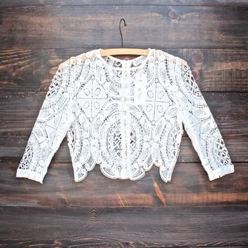 Lioness sheer crochet lace crop top in white