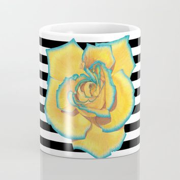 Yellow and Turquoise Rose on Stripes Coffee Mug by drawingsbylam