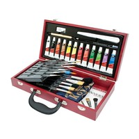 Royal & Langnickel Watercolor Painting Wooden Box Set with Aqualon Brushes (Graphite/Aqua)