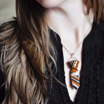 Necktie Necklace Ring Set in Orange Black and Silver by CreaShines