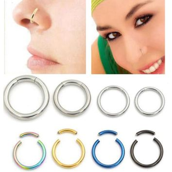 16G 18G Stainless Steel Open Nose hoop ring Piercing Segment Ring Body Jewelry Septum Black Gold Silver Body Piercing Jewelry