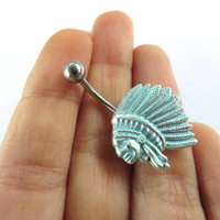 Native American Feather Headdress Indian Chief Belly Button Ring Jewelry Stud Navel Piercing Bar Barbell Silver Turquoise Mint Green Patina