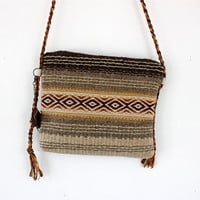 Unique handmade  boho crossbody bag - handwoven wool fabric in brown and white natural wool and hand dyed brownish colors,