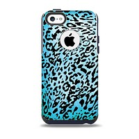 The Hot Teal Cheetah Animal Print Skin for the iPhone 5c OtterBox Commuter Case