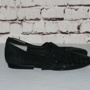 90s leather flats woven us 8.5 loafer pointy Black grunge boho hipster 80s festival goth 8 9