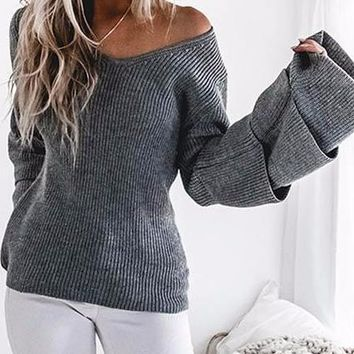 Women's Gray Exaggerated Bell Sleeve Triple Ruffle Off the Shoulder Cable Knit Sweater