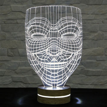 3D LED Lamp, Anonymous Mask Shape, Acrylic Lamp, Art of Light, Home Decor, Artistic Lamp, Art Lamp, Table Light, Office Decor, Nursery Light