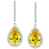 Yellow Pear Shaped Women's Dangle Earrings