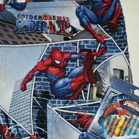 Spiderman print fabric Craft tote with crayons, color book and book /bag/ book bag/ Tote/ Over night bag
