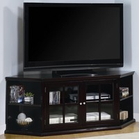 A.M.B. Furniture & Design :: Living room furniture :: TV Stands :: Espresso finish wood corner TV stand with glass front cabinet doors and storage