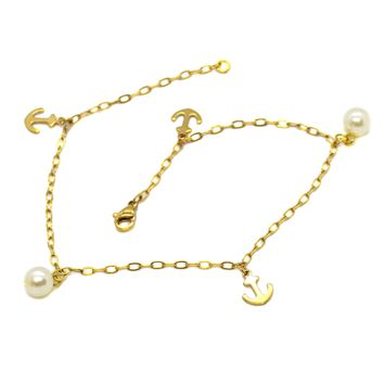 """(1-0153-H8) Gold Plated Stainless Steel Charm Pearl Anklet, 10.5""""."""