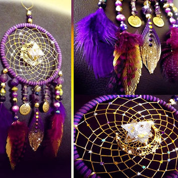 Dreamcatcher, bohemian dreamcatcher, boho decor, purple dreamcatcher, crystal dreamcatcher, merkabah, feather dreamcatcher, gold leaf decor