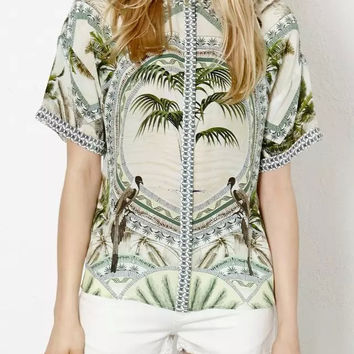 Coconut Print Short-Sleeve Button Collared Shirt