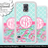 Monogram Galaxy S4 case S5 Lobsters Quatrefoil Aqua Pink Coral Pastels Mint Personalized Galaxy S3 Case Note 2 3 4 Cover