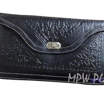 Moroccan Leather clutch bag - Black