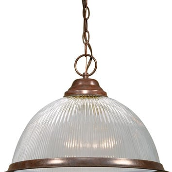 """15"""" Old Bronze Pendant Light Fixture with Clear Prismatic Dome"""