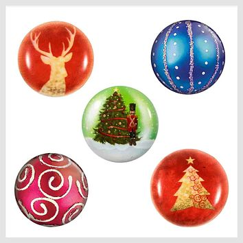 Painted Enamel Christmas Set 5 Snaps 20mm 3/4""