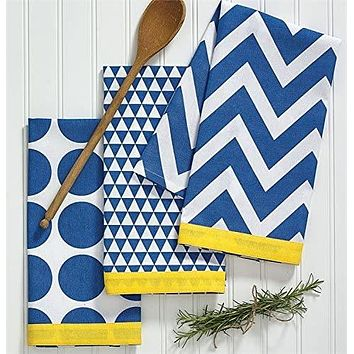 Split P Kitchen Pop Blue 4 Pcs Dishtowel Set