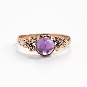 Antique Gold Shell Amethyst Cabochon Ring - Vintage Edwardian Art Nouveau Size 7 Dated 1910 Jewelry