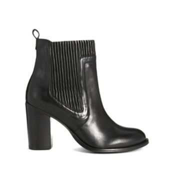 Dune Natties Leather Heeled Ankle Boots - Black leather