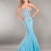 Blue Dresses - Jovani Prom 944 Beaded Mermaid