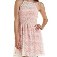 Ivory Combo Racer Front Lace Skater Dress by Charlotte Russe