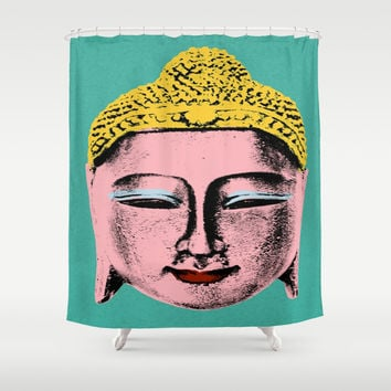 Pink Buddha Shower Curtain by Aloke Design