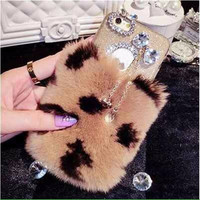 Luxury Bling Fur TPU Silicon Mobile Phone Case Cover For Apple iPhone 6 6S Plus 4.7 5.5 Back Protective Phone Cover Women Girl
