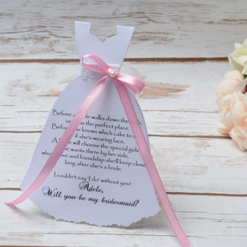 Will you be my Bridesmaid Card Proposal Dress Pink Invitation Wedding Party Bridal Shower Maid of Honor Flower Girl Cards