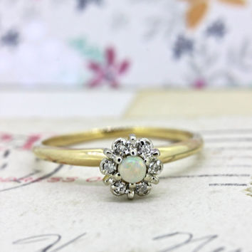 Vintage Opal Promise Ring | Non Traditional Engagement Ring | 14k Yellow Gold Diamond Ring | Dainty Gemstone Stacking Ring | Size 5.25
