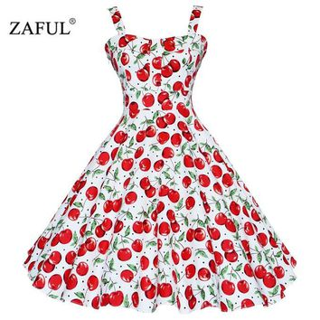 ZAFUL 4XL Women Dress Summer Sleeveless Casual Retro Vintage 1950s 60s Cherry Big Swing Mini Floral Dresses Big Plus Size