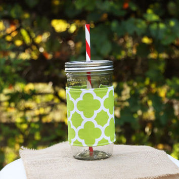 Mason Jar Tumbler 24 oz | Gifts Under 25 | BPA Free Lid and Straw | Free Personalization | Lime Quatrefoil