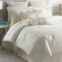 Martha Stewart Collection Marble Flowers 9 Piece King Comforter Set