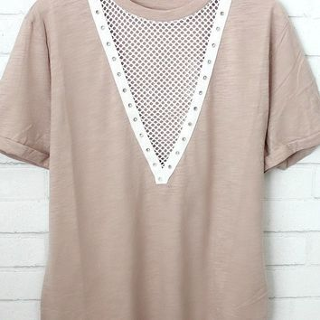 Jesse Mesh Fishnet V-Neck T-Shirt Dress (Mauve)