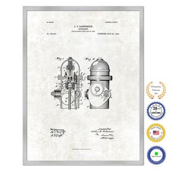 1903 Firefighter Hydrant Antique Patent Artwork Silver Framed Canvas Print Home Office Decor Great for Firefighter Fireman Firewoman
