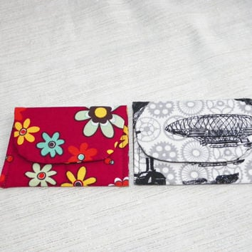 Coin Purse Jewelry Pouch Red and Black Mini Pocket Selection Your Choice of One BowTies Bamboo Flowers Airship